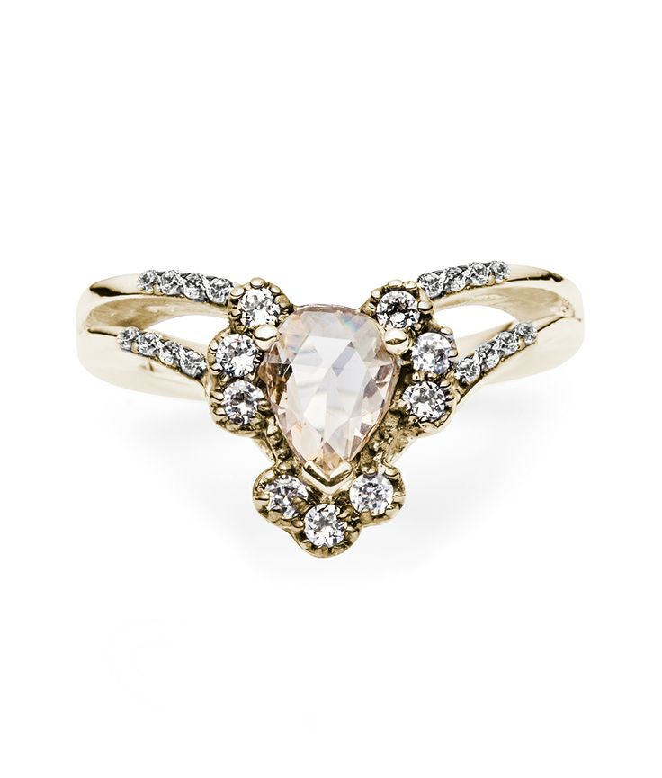 Ritual Solitaire Ring | 14k yellow gold champagne diamond wedding ring with white diamonds and pavé band | For the alternative bride, Maniamania Fine Jewelry offers nontraditional, vintage inspired engagement rings. With ethically sourced rose cut gemstones and diamonds, our unique bridal Fine Jewellery is handcrafted in New York #ritualsolitairering #maniamania #themaniamania #maniamaniafine
