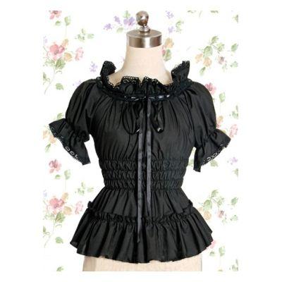 Best frill black ribbon short sleeve cotton blouse Lolita