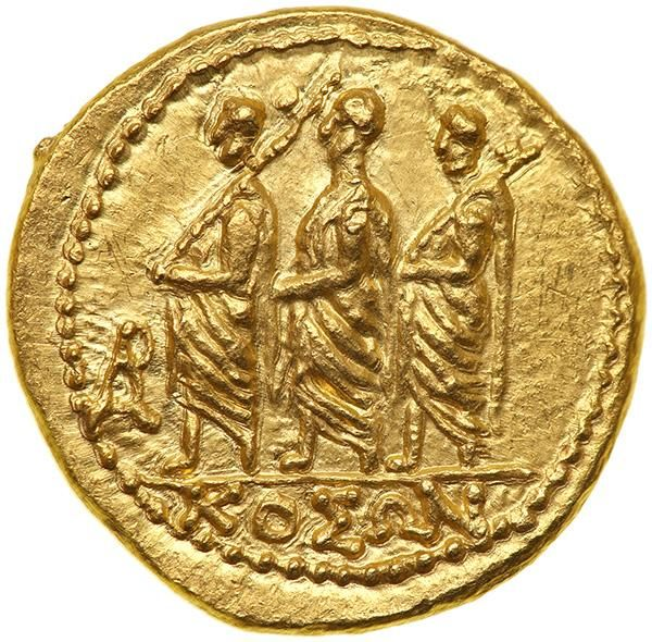 Skythia, Geto-Dacians. Koson. Gold Stater (8.4 g), Mid 1st century BC KOΣΩN in exergue, Roman consul advancing left, accompanied by two lictors; in left field, monogram. Eagle with wings displayed standing left on scepter, holding wreath in talon. Iliescu 1; RPC 1701. The finest piece we have handled from this group. Estimated Value $1,000 - 1,400. #Coins #Gold #Ancient #MADonC