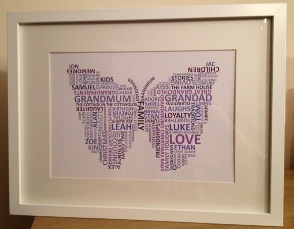 Grandma's birthday present from the grandkids...a Butterfly print made entirely from words that will mean something special to the recipitent.