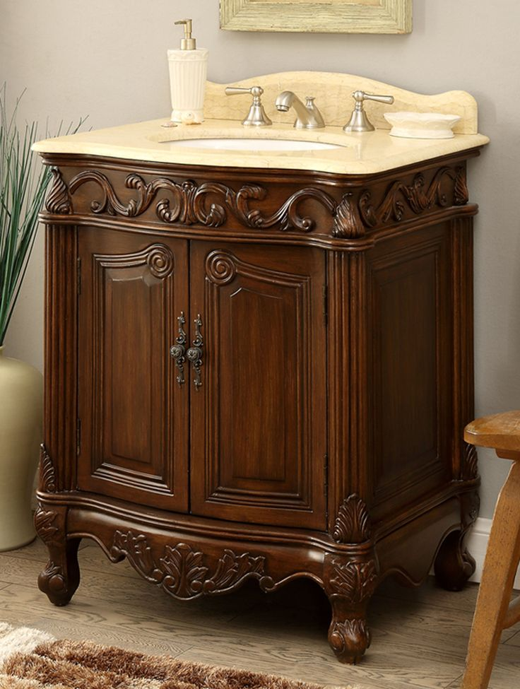 27 Inch Adelina Antique Bathroom Vanity Wood Finish Antique