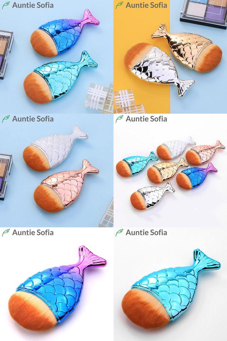 [Visit to Buy] Mermaid Tail Makeup Brush Rose Gold Powder Blush Foundation Cosmetic Tools Fish Brush Art Facial Puff Brushes Mermaid Brush Set #Advertisement
