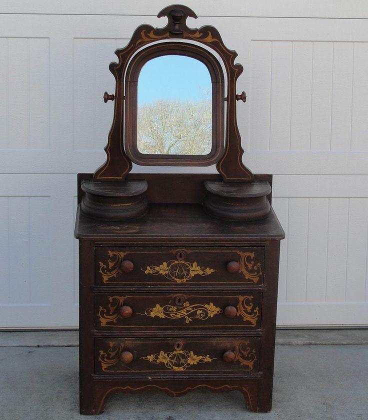 Victorian Cottage Childu0027s Dresser Orig. Finish 1870 SALESMAN SAMPLE Edmund  Platt
