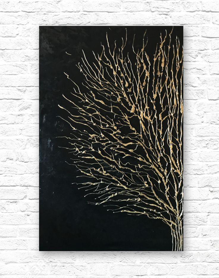 Pip-art.ru. Интерьерная картина маслом на подрамнике. 120х80 см. Чёрная картина с золотом. Картина дерево. Абстрактная картина. Картина на кирпичную стену. Картина в стиле лофт, минимализм, ардеко. Красивая картина. Большая картина на стену. Декор на стену . Объёмная картина 3д