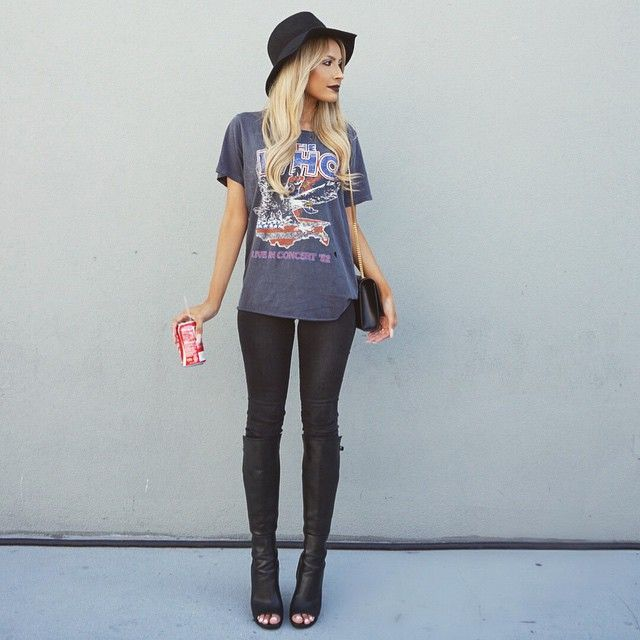 Rocker T-shirt with black jeans and peep toe black boots perfect for fall outfit or winter outfit love her blonde hair