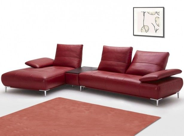 Sabrina Red Bonded Leather Sectional Sofa With Iphone Speaker Dock   LSF