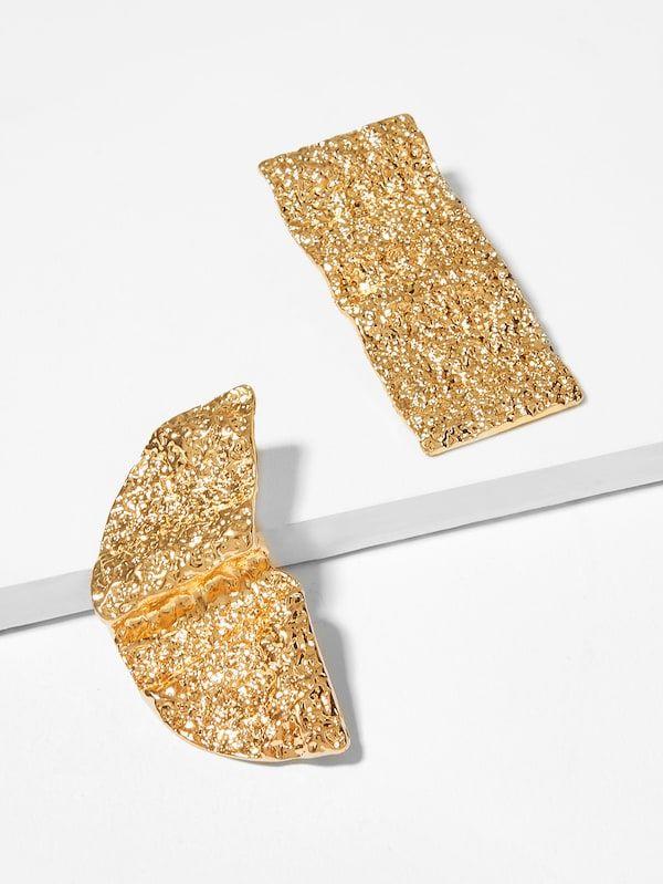62095465b618 Textured Metal Mismatched Stud Earrings -SheIn(Sheinside)