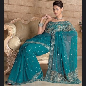 Aqua Color | Gravity Fashion - AQUA BLUE COLOR SAREE WITH BLOUSE