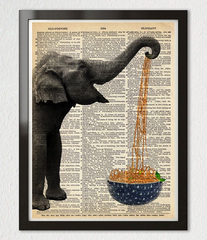 ELEPHANT Eating Noodles Spaghetti Bowl Art Print Poster Animal Illustration Kitchen Antique Dictionary Book Page 5x7 8x10 A3 +More Sizes by PatricianPrints on Etsy https://www.etsy.com/listing/111942313/elephant-eating-noodles-spaghetti-bowl