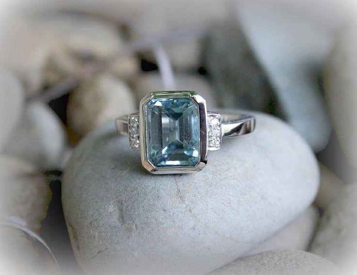 Custom designed handmade ring - featuring Aquamarine and diamonds, created with sterling silver.  www.opusjewels.com.au
