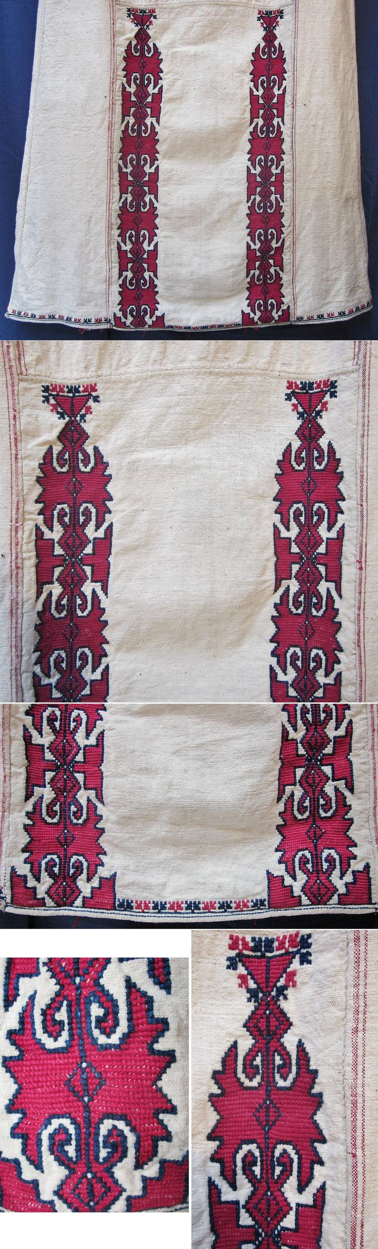 Lower part of the front of a  (cotton on cotton) embroidered 'göynek' (underdress for women), featuring an unusual design.    From the Mudurnu-Taraklı region (Bolu province), mid-20th century.  Ethnic group: Türkmen. (Inv.nr. gnk003 - Kavak Folklor Ekibi & Costume Collection-Antwerpen/Belgium).