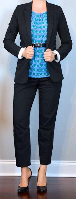 outfit post: black boyfriend blazer, blue green print blouse, black ankle pants, black pumps | Outfit Posts
