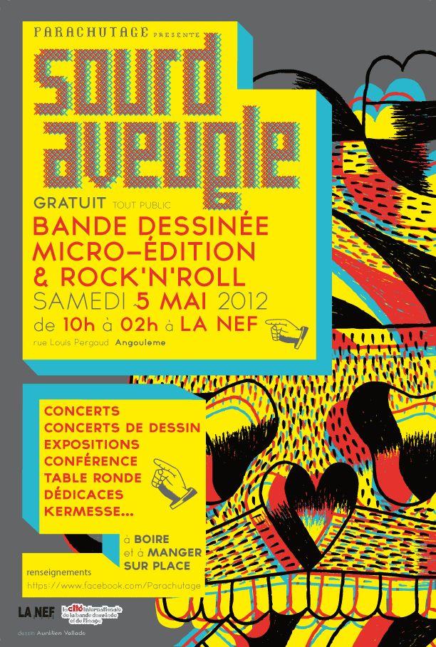 flyer pour le micro festival Sourd et aveugle réalisé avec un dessin de Joe Moo tattoo