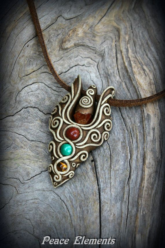 eternity symbol polymer clay pendants with Garnet Turquoise