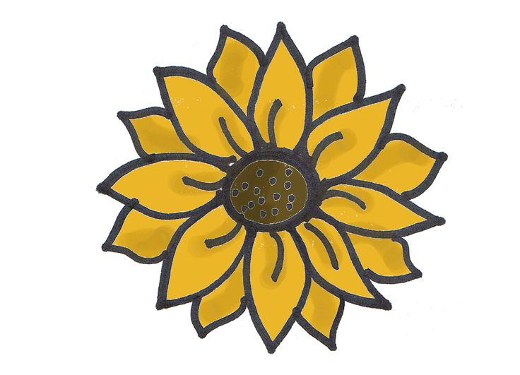 simple sunflower drawing - Google Search in 2019 ...