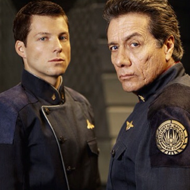 "Lee Adama and William Adama (Jamie Bamber and Edward James Olmos) in ""Battlestar Galactica"""