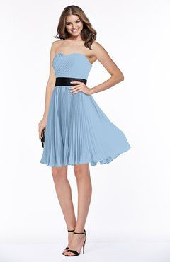 Sky Blue Gorgeous A-line Sleeveless Chiffon Ruching Bridesmaid Dresses
