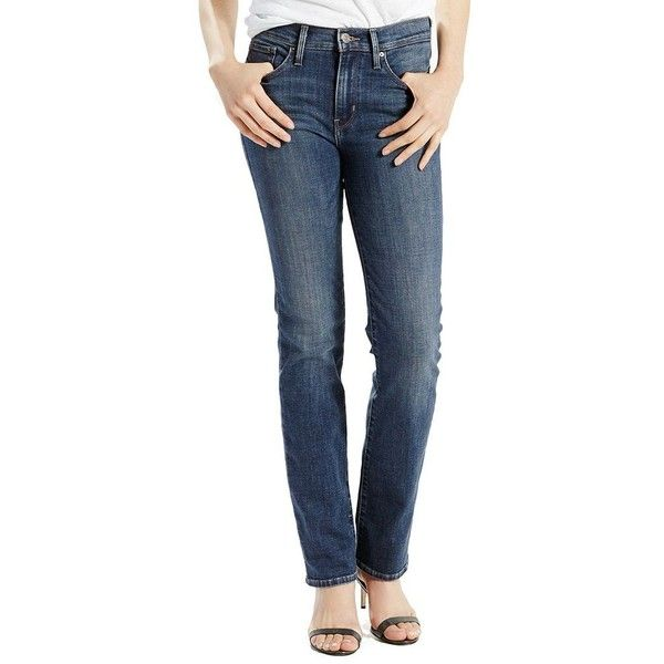 Women's Levi's Slimming Straight-Leg Jeans (52 NZD) ❤ liked on Polyvore featuring jeans, dark blue, slim jeans, tall straight leg jeans, slim fit jeans, mid rise jeans and zipper jeans
