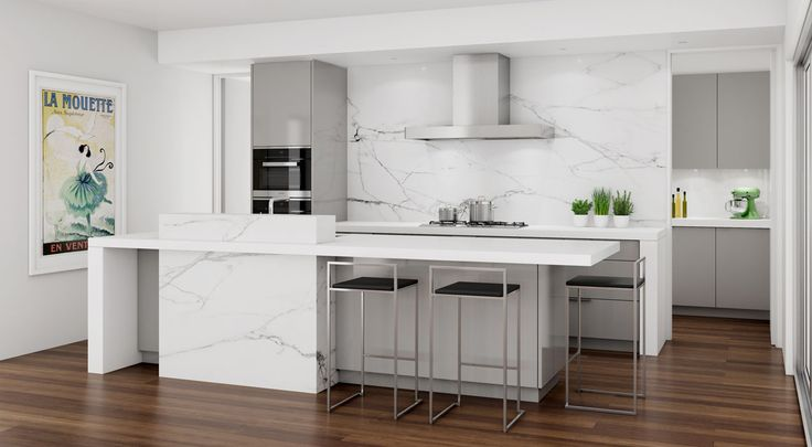 Sharp light grey toned design with marble highlights. Bondi, NSW #DanKitchensAus