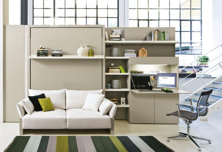 Soluzione con letto verticale a scomparsa e scaffalatura che svuota lo spazio,scopri la soluzione di Clei completa di letto,mobile giorno e armadio ad ante.