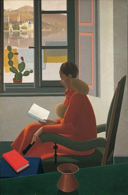 igormaglica: Antonio Calderara, La finestra e il libro, 1935. olio su tela, 185 x 123 cm