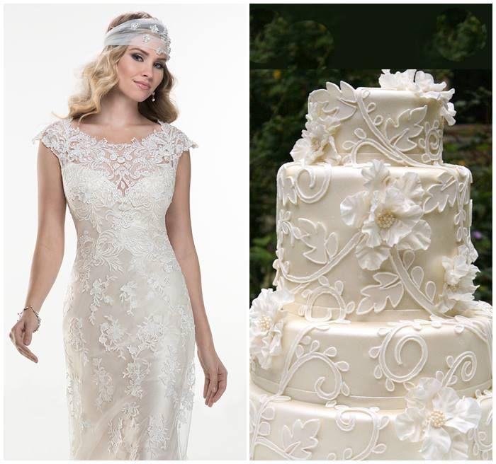Maggie Sottero trouwjurk met bruidstaart combinatie van www.honeymoonshop.nl