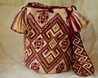 Mochila grande ganchillo bolsa crossbody nativa wayuu técnica