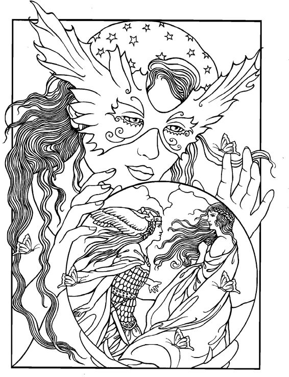 crystal ball coloring pages | 656 best Coloring pages to print - Fantasy images on ...