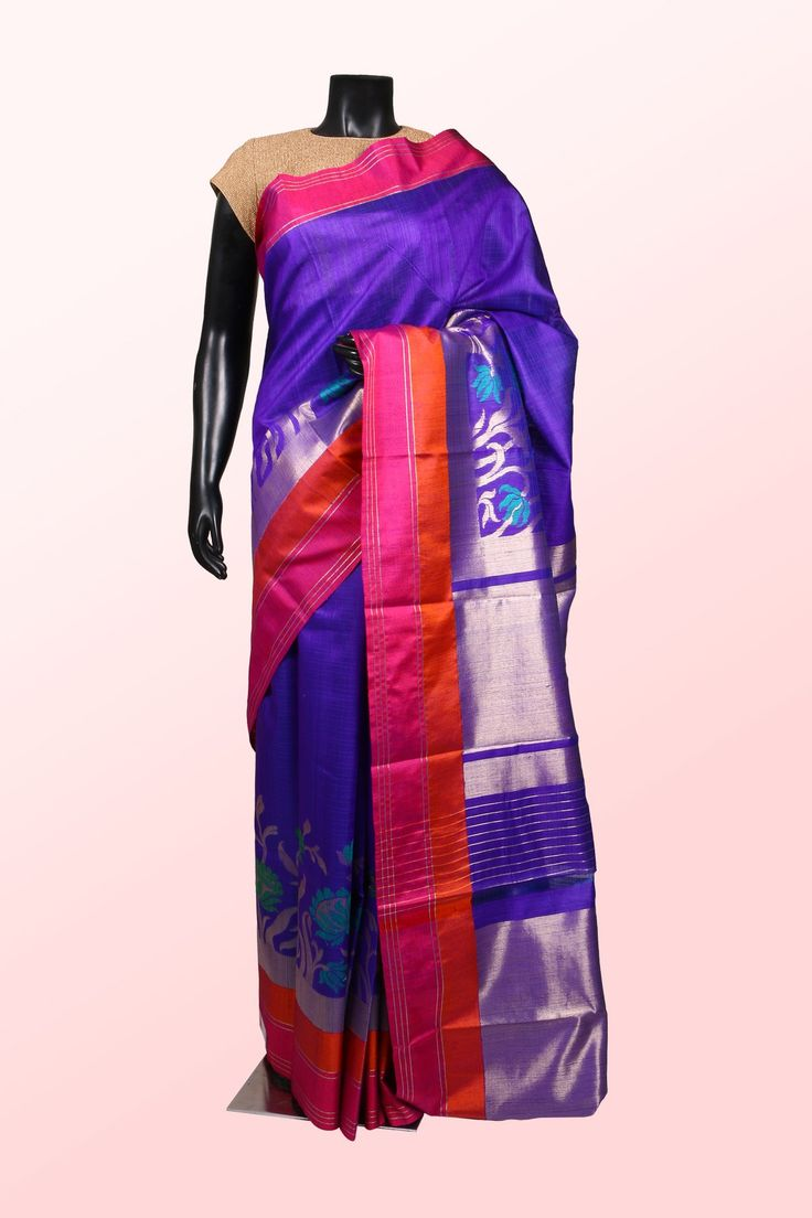Purple multicoloured banarasi silk sublime saree with multicoloured border