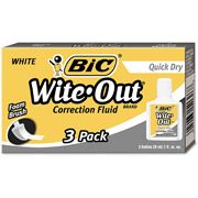 Walmart: BIC Wite-Out Quick Dry Correction Fluid, 20 ml Bottle, White, 3/Pack