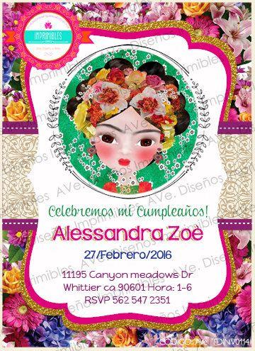 Invitaciones Frida Kahlo Invitaciones por AVeDisenoImprimible