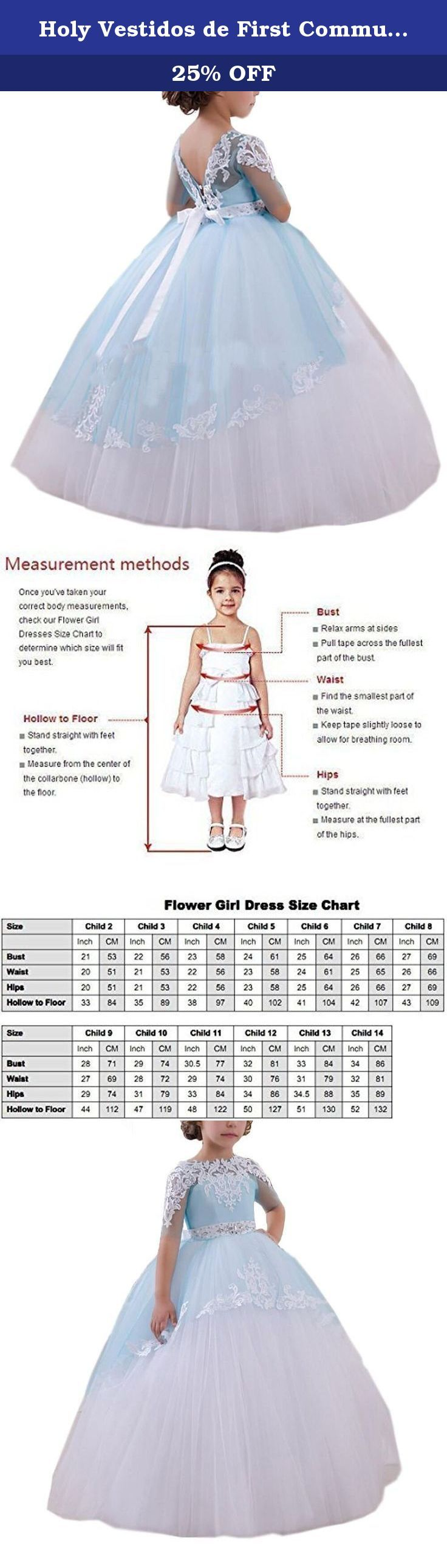 Holy Vestidos de First Communion Dresses White Blue Girls 1-14 Year Old (Size 2). Brand Name: Carat Occasion: First communin,wedding,birthday,Christmas,pageantetc Shown Color: White and blue Item Type: First communion dresses,girls dresses,Flower girl dress, tulle ball gowns,pageant gown etc Sleeve Length: Half sleeves Decoration: Beading,lace appliques Waistline: Natural Dresses Length: Floor-length Fabric: Soft Mesh Tulle,lace,satin Season: Spring, Summer, Fall,Winter OEM Service…