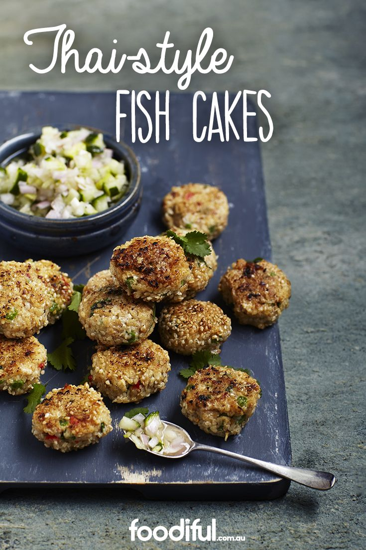 Served with pickled cucumbers, these fish cakes are stuffed with Thai-inspired herbs and spices, including coriander, kaffir lime and chilli. They're great as snacks or as an entree or party canapé. These fish cakes take 1 hr and 30 mins to make and serve 6 people.
