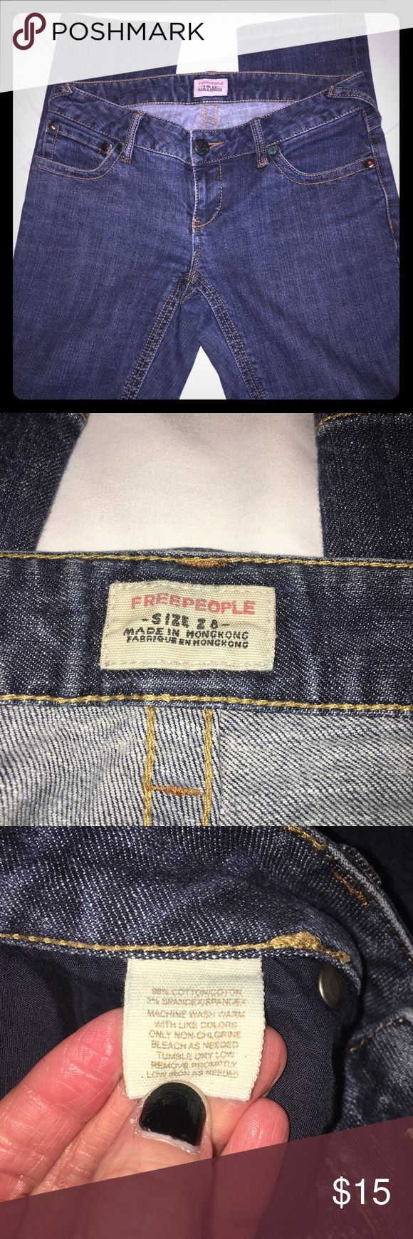 """{Free People} jeans {Free People} skinny jeans. Front double seam under zipper is partly unstitched (No Hole)(picture #5)The rest of jeans are in good condition. Size 8, 33 1/2"""" waist, 6 1/2"""" front rise, 13 1/2"""" rear rise, 32 1/2"""" inseam. Free People Jeans Skinny"""