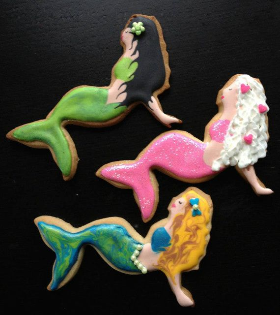 Swirly Mermaid Cookies by SweetWildFlour on Etsy