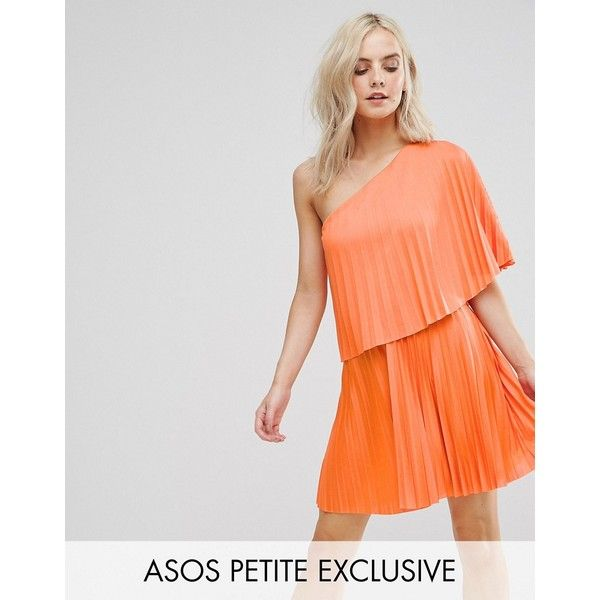 ASOS PETITE One Shoulder Pleat Mini Dress ($49) ❤ liked on Polyvore featuring dresses, multi, petite, one shoulder mini dress, one shoulder dresses, short cocktail dresses, tall dresses and short mini dress