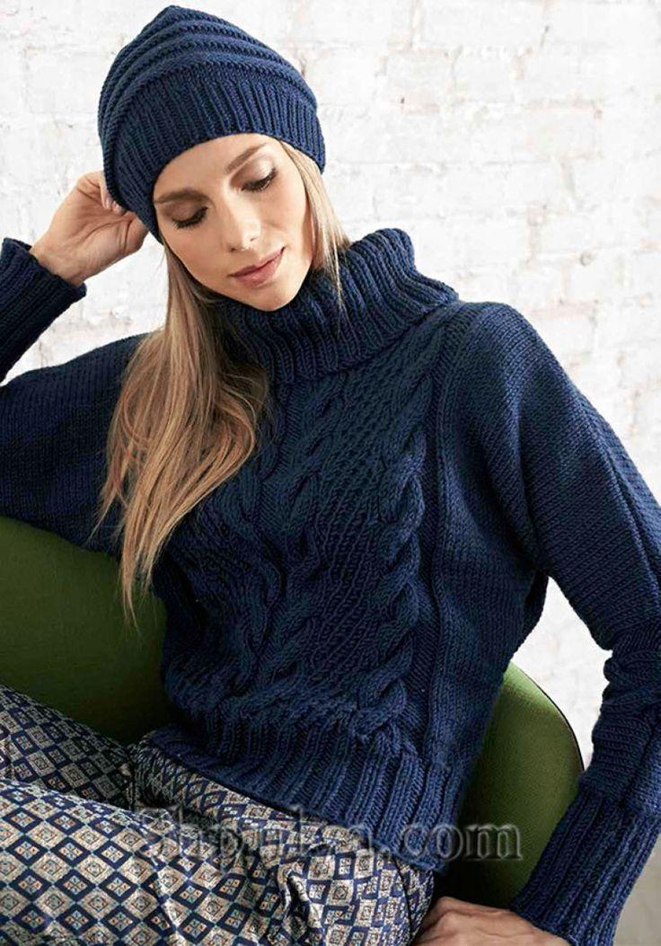Синий свитер с косами и шапочка