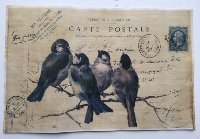"""4 Blue Birds.  Vintage Aged Papers  11"""" x 17"""""""