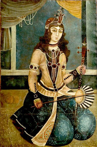 Qajar painting of Woman Playing a Tar.