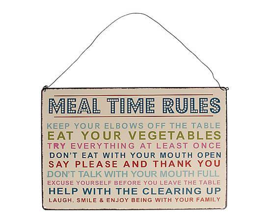 "Dekorace ""Meal Time Rules"", 18 x 27 cm"