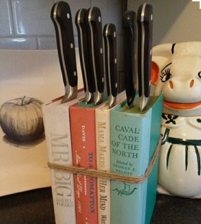 I love this idea.  I would probably use old cook books