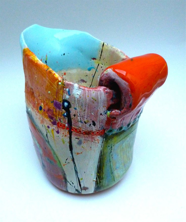 Jug with baby blue lip and orange handle 2013