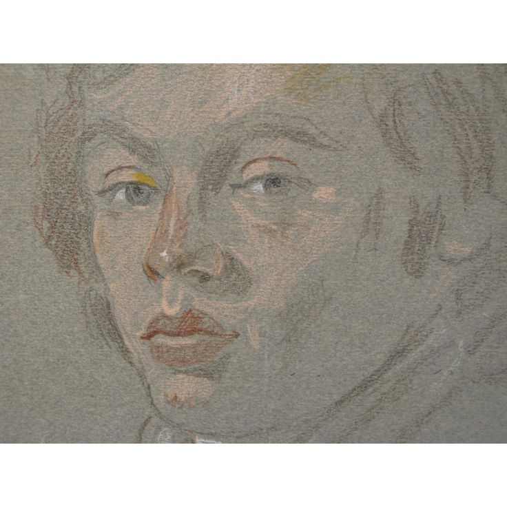 """Yiannis Tsarouchis (1910-1989).        """"Portrait"""", 1976. Portrait of Pierre-Francois. Crayons on dark paper. Signed and dated on lower right: Τσαρούχης 9-11-76 Dimensions: 40Χ33 εκ."""