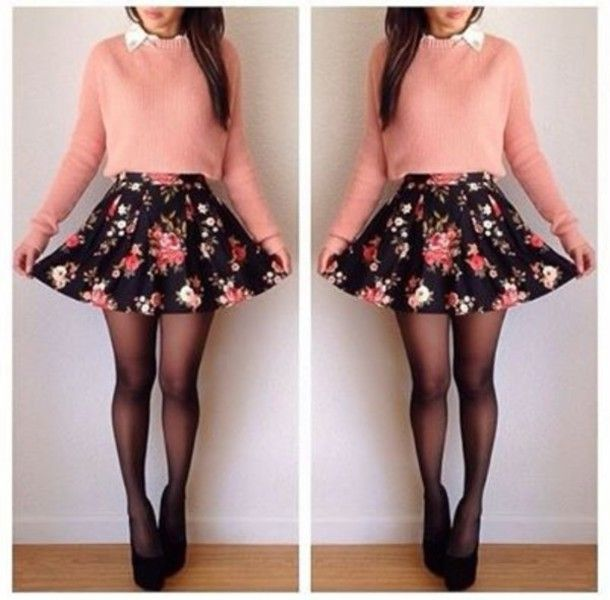 dress flower short cute hispter swag girl girly outfit pretty vintage pink flowers
