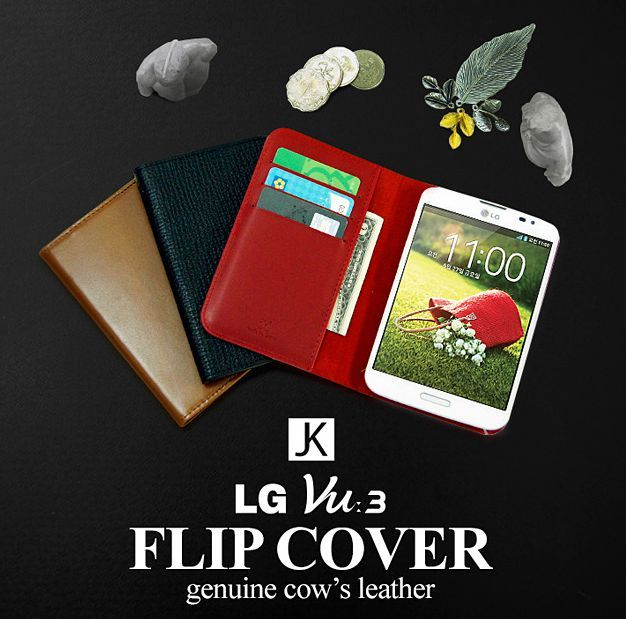 Jacklyn Genuine Cows Leather Flip Cover for LG Vu 3
