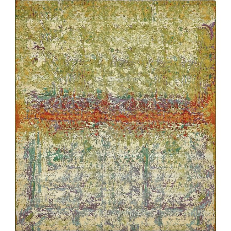 Unique Eden Outdoor Multi/Orange Abstract Area Rug (10' x 12'), Size 10' x 12'