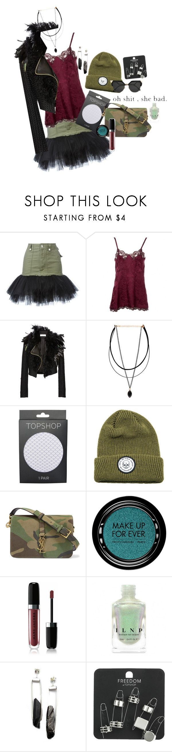 """."" by applecocaine ❤ liked on Polyvore featuring Unravel, Christian Dior, Lanvin, Topshop, Elm Company, Yves Saint Laurent, MAKE UP FOR EVER, Marc Jacobs and Enji Studio Jewelry"