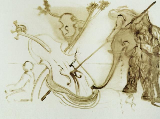 Warrior Mounted on an Elephant Overpowering a Cello, 1983 by Salvador Dali. Expressionism, Surrealism. battle painting