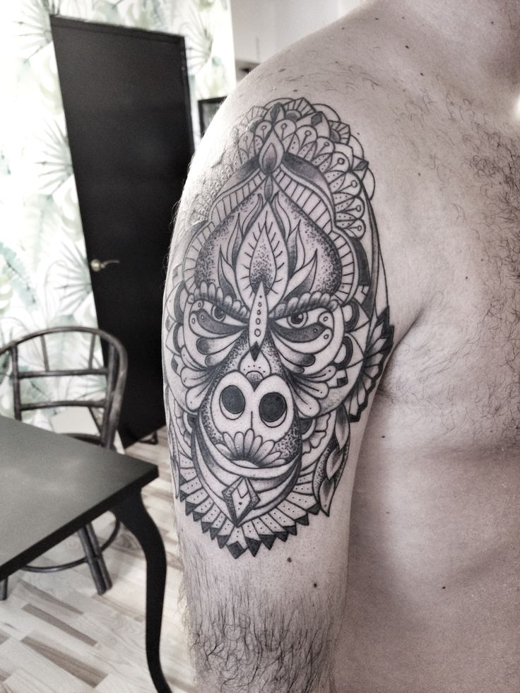Gorilla tattoo mandala by Le Nou Tattou
