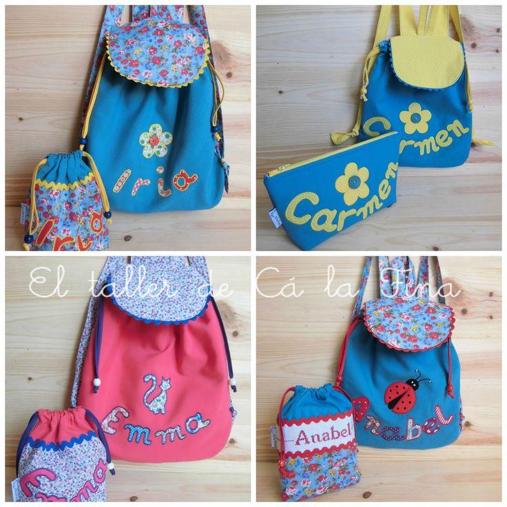 Mochila de guardería y bolsas de tela personalizadas para niñas